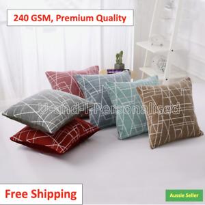 Chenille Cushion Cover Geometric Geo Striped Throw Soft Pillow Case Home Decor