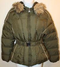 Women Ladies JLO Olive Green Faux Fur Hooded Down Winter Puffer Jacket Sz Small