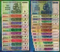 1 to 10 Trillion Dollars Set of 24 Different Banknotes w/ 50 Billion 100 Million