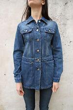 Denim Jeans Women Blue Jacket Dress Coat Cotton Faded M Vintage 80s