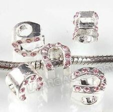 SILVER PINK CRYSTAL HORSESHOE CHARM BEAD FOR BRACELET OR NECKLACE