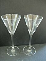 Set of Two (2) Grey Goose Martini Glasses Vodka Cocktail Clear Etched 4 oz