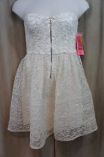 Betsey Johnson Dress Sz 12 Ivory Strapless Sequin Detail Cocktail Party Dress