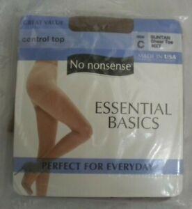No Nonsense Control Top Pantyhose Stockings Size C Suntan Essential Basics 1121