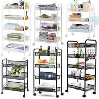 3/4/5-Tier Metal Mesh Rolling Utility Cart Trolley Storage Cart w/ Wheels Hooks
