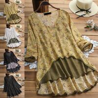 Women Summer Gypsy Baggy Tunic Tops Floral Shirt Long Sleeve Hippie Blouse Top