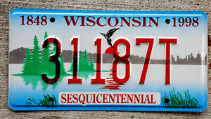 1848 - 1998 Wisconsin Sesquicentennial Bird over Lake at Sunrise License Plate