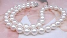 "AAAA 9-10mm south sea white round pearl necklace 17.5"" with flower clasp"