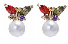 Butterflies Gold White Pearl Zircon Stud Earrings for Small Girls or Women  E744