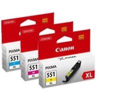 Canon CLI-551XL C/M/Y Genuine / Original High Capacity 3 Ink Cartridge Pack