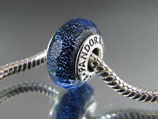 "GENUINE AUTH PANDORA  "" IRIDESCENT BLUE FACETED ""  MURANO GLASS BEAD  MPN 791646"