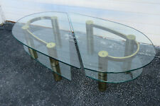 Hollywood Regency Mid Century Pair of Glass Top Side Tables or Coffee Table 1587