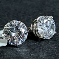 Gorgeous 14K White Gold Prong 6 CTW Round Cubic Zirconia CZ Stud Earrings NWT