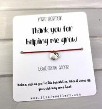 Personalised Names Thank You For Helping Me Grow Card Wish Bracelet Teacher Gift