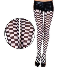 Opaque Black White Checkered Print Tights Pantyhose Sexy Nascar Racing Outfit
