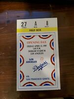 1985 Opening Day Los Angeles LA Dodgers Ticket Stub