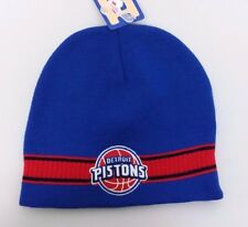 Detroit Pistons NBA Winter Fitted Cuffless Knit Beanie Hat Skully Cap NWT