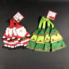 8 Xmas Tree w/ Bells & Santa Utensil Silverware Embroidered Fabric Holders Sets