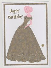 Blank Handmade Greeting Card ~ HAPPY BIRTHDAY with LADY IN LONG GOWN