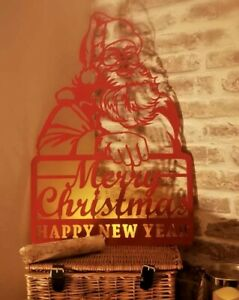 Merry Christmas And Happy New Year Santa Sign Metal Xmas Christmas Decoration
