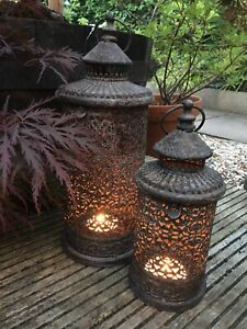 Set 2 Rustic Antique Style Metal Ornate French Moroccan Lanterns - Garden Indoor