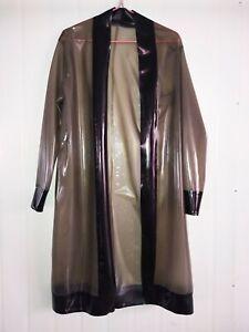 Latex Rubber Club Gummi Mantel Jacke Transparentes Schwarz Lange Pyjama Top