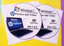 HP Pavilion dv6-7136nr Factory Recovery Media 2-Discs / Windows 7 Home 64-bit