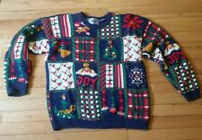 Vintage Hand Knitted Womens Christmas Sweater Ugly Tacky Multicolor Size Large
