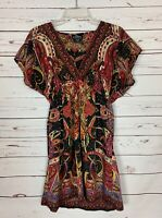 ANGIE Boutique Women's L Large Black Boho Spring Short Sleeve Tunic Top Blouse