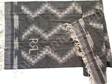 New Ralph Lauren RRL Scotland Made Wool Grey Southwestern Camp Throw Blanket