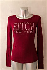 adorable pull fin laine bordeaux ABERCROMBIE & FITCH new york taille S