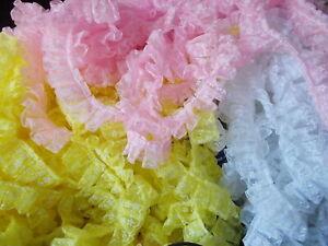 Pleat Gathered Flower Pattern Organza Ribbon  Lace trim -choose white, red, pink