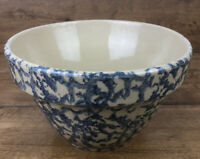 Vintage Roseville Pottery RRP Blue Spongeware Mixing Bowl 7 Inch