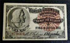 nystamps US Stamp 1893 Columbus Exposition Ticket