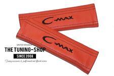 """2x pastillas de cubiertas de cinturón de seguridad de cuero naranja """"C-MAX"""" Bordado Para Ford"""