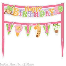 1st First Birthday Girls Pink Party Supplies Safari Animals CAKE BANNER