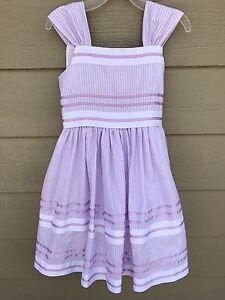 BONNIE JEAN Kids Girls Dress Sz 7 Purple Sleeveless Glitter Striped Fully Lined