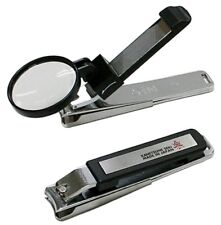 "KANETSUNE 4.13"" Nail Clipper With Loupe Black Chromium Plating Steel KC-053-BK"