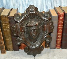 Antique French Black Forest Carved Wood Figural Male Pediment Wall Plaque Mount