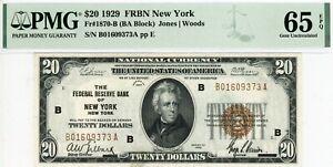 $20 1929 FRBN New York  Fr#1870-B (BA Block)  B01609373A  PMG 65 EPQ