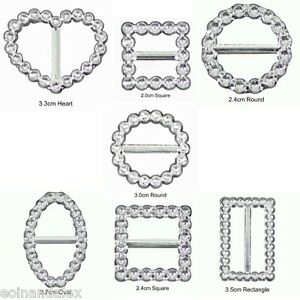 10 Diamante Effect Silver Ribbon Buckle Sliders Gifts Wedding Invitation cards