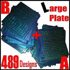 489 Designs 2pcs LARGE Nail Art Stamping Stamp Plate French Stencil Template A+B