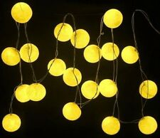 Yellow Cotton Ball BATTERY LED Fairy Lights 20 Light Balls Uses 3 x AA batteries