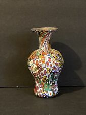 Vintage Italian Thick Millefiore Glass Vase 4 3/4""