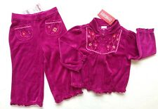 NWT Gymboree Peruvian Doll 18-24 Magenta Velour Flower Pants & Jacket Yoga Set