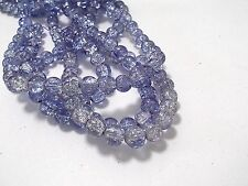 110pcs 8mm CRACKLE Glass Round Beads -VIOLET( 1 strand )