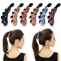 Elegant Women Ponytail Holder Crystal Banana Hair Clip Claw Multicolor Hairpin