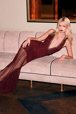 BURGUNDY MESH MAXI DRESS Deep plunge V neck Backless Med M nasty gal guess