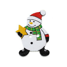 15 CHRISTMAS SNOWMAN PAINTED WOOD BUTTONS 32mm x 27mm Sewing~embellishment (23C)