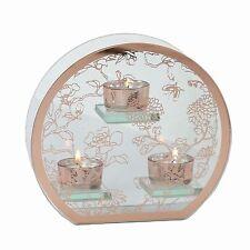 Glass Floral Triple Tea Light Holder 20cm
